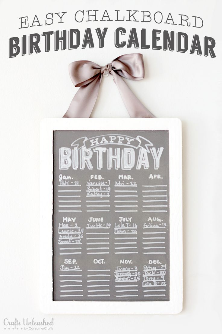 Easy Chalkboard Birthday Calendar {With Free Printable!}