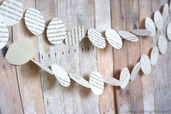 Book Page Garland By Design, Dining + Diapers #bookpages #recycle