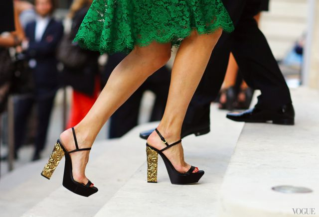 green + gold at paris couture shows