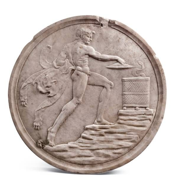 Satyr before cista mystica (front), Oscillum from the Casa del Citarista, probably 1st century AD. Chr.