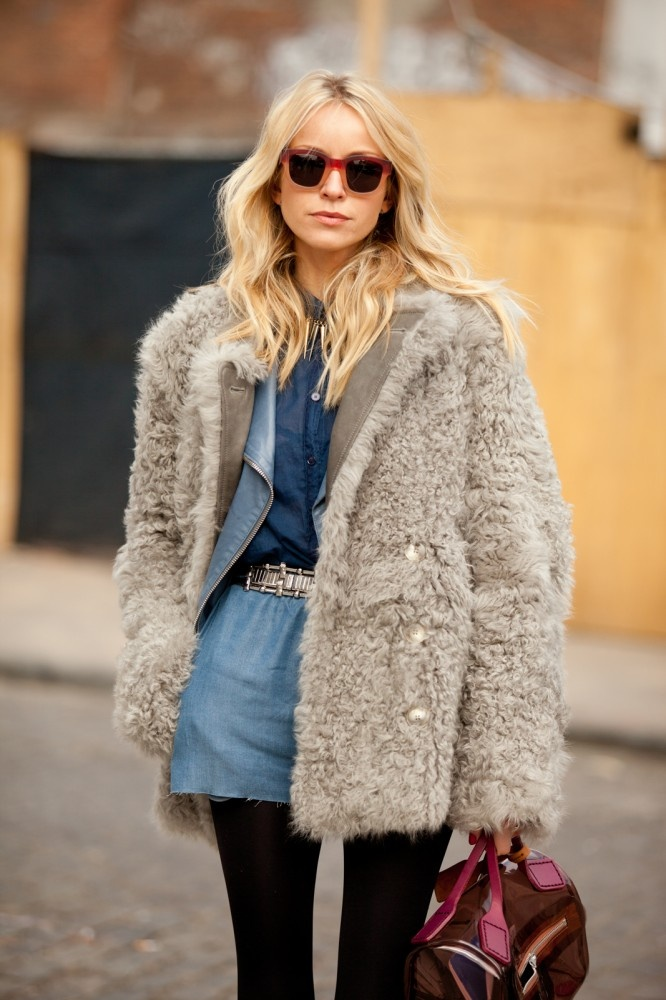 Hege Badendyck, fashion editor at Costume magazine dresses up her Canadian tuxedo with a coat we want to pet.