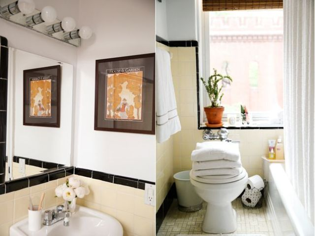 After of my NYC bathroom. $0 renovation dollars went in to transforming this space! Good Bones, Great Pieces