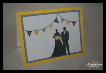 YELLOW & GRAY Wedding Thank You Silhouette with Bunting by AllisonKathleen.com