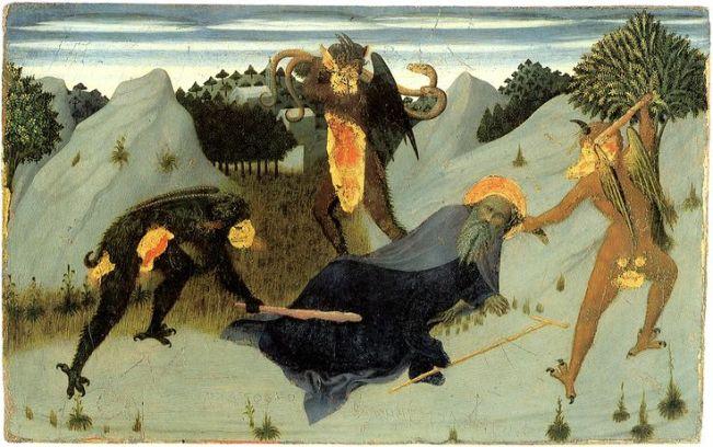 Sassetta, Sant'Antonio bastonato dai diavoli,