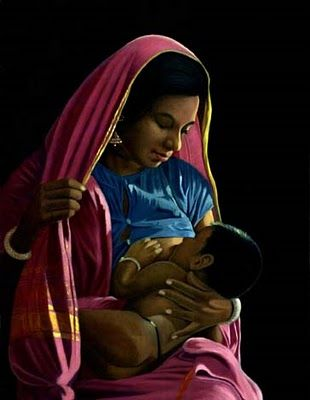 East Indian Breastfeeding Art; 1950 #bfcafe #breastfeeding #art