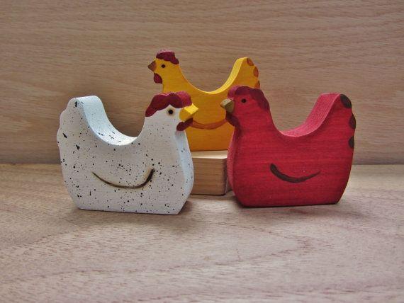Wooden Chicken Toy Waldorf FIgure Farm Hens by Imaginationkids