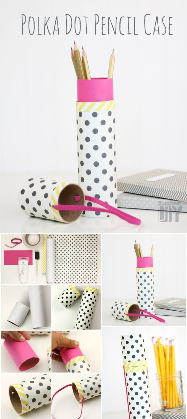 1. Polka Dot Pencil Case | 10 DIY Pencil Cases That Make The End Of Summer A Little Less Sad ----- Also look at the other pencil cases on the page, they're also some you could pin! I'm just pinning one of my favorites!