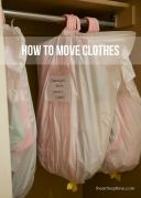 Best way to pack clothes for a move... still on the hanger, in a garbage bag! MUST REMEMBER THIS!
