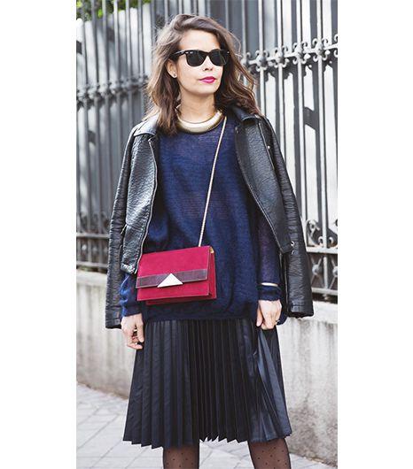 @Alexandra M What Wear - Sara Escudero of Collage Vintage  On Escudero: Zara jacket and sweater; vintage skirt; vintage necklace; Tita Madrid Bag ($241); ASOS tights.
