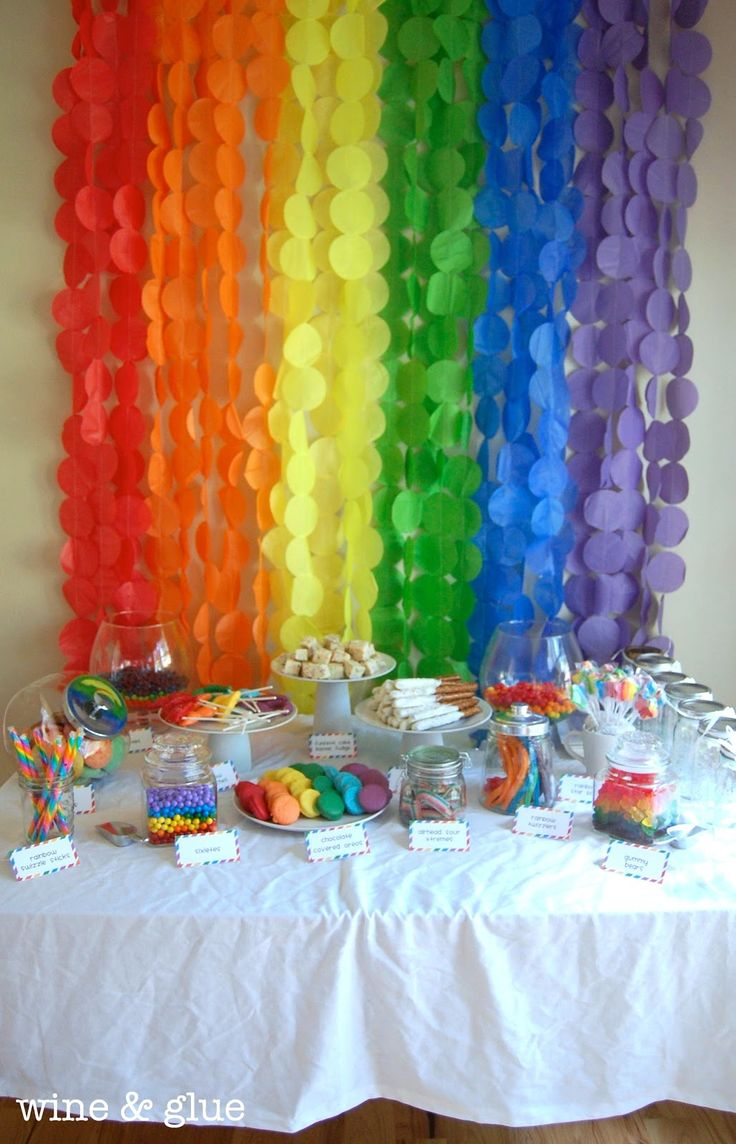Rainbow Party Extravaganza! TONS of rainbow ideas from Wine & Glue #rainbow #party
