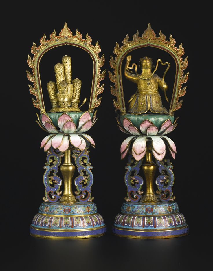 A PAIR OF CLOISONNE AND CHAMPLEVE ENAMELED GILT-BRONZE SYMBOLIC OFFERINGS<br>CHINA, QING DYNASTY, LATE 18TH / EARLY 19TH CENTURY | Lot | Sotheby's