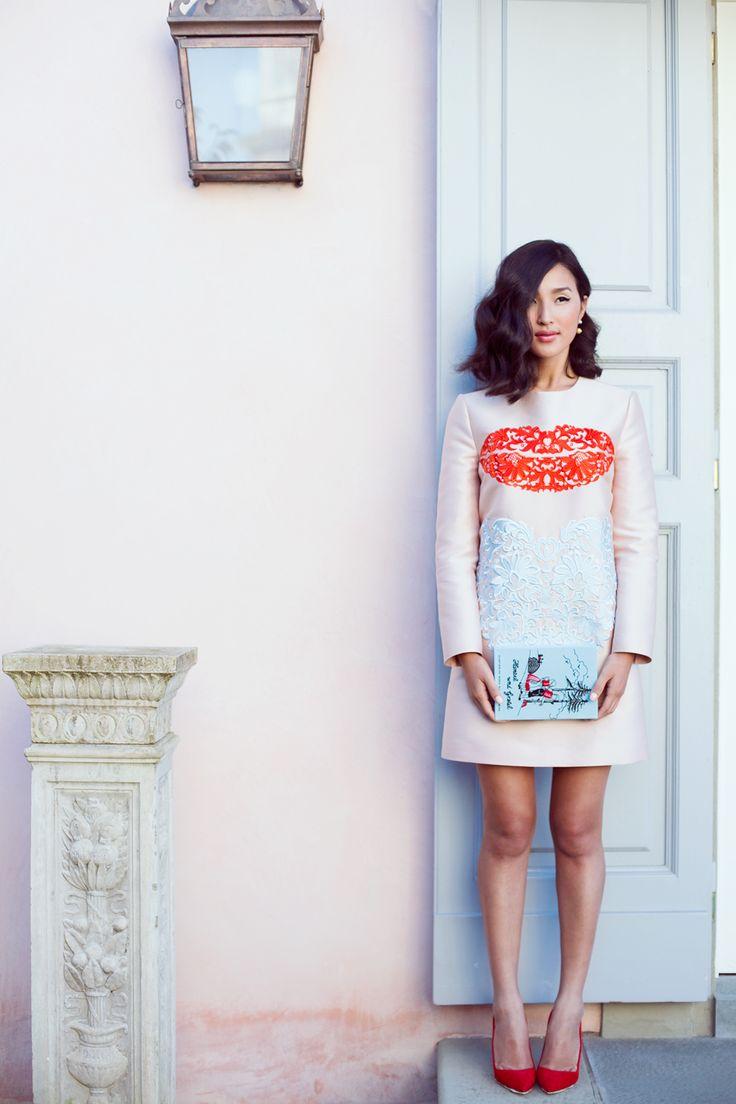 Nicole Warne - Stella McCartney dress, Olympia Le Tan clutch, Sergio Rossi shoes.  (Florence - January 2014)