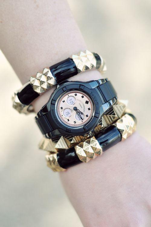 Rebecca Minkoff watch, chunky black & gold bracelets!