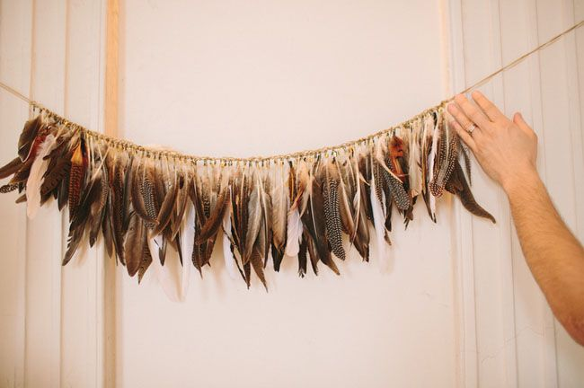 Feather #wedding decorations...so unique! From http://greenweddingshoes.com/missouri-handmade-wedding-amy-christopher/  Photo Credit: http://wearetheparsons.com/