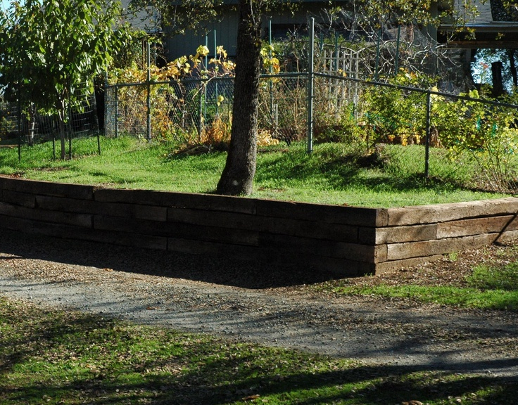 railroad tie retaining wall outdoor patios walkways on wall pictures id=86644