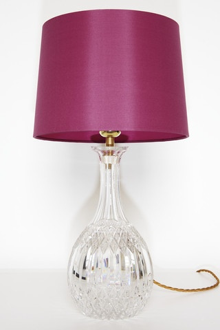 Diamond cut Crystal decanter lamp with fuschia silk shade