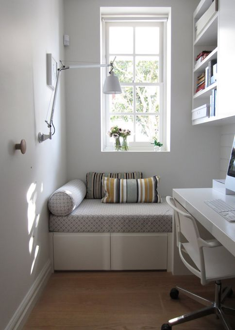 actually I want a larger home office... but in case that isn't an option, this is beautiful | desk + built-in daybed = perfect for small room turned into an office