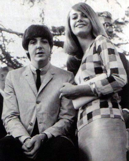 Peggy Lipton with Paul McCartney, pre-Mod Squad fame, wearing a pink silk skirt and her mother's Emilio Pucci checkered jersey top.