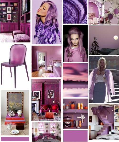Color & Interior Design – #Pantone Color of the Year 2014 Radiant Orchid! #PerscentrumWonen #Moodboard of Radiant Orchid!