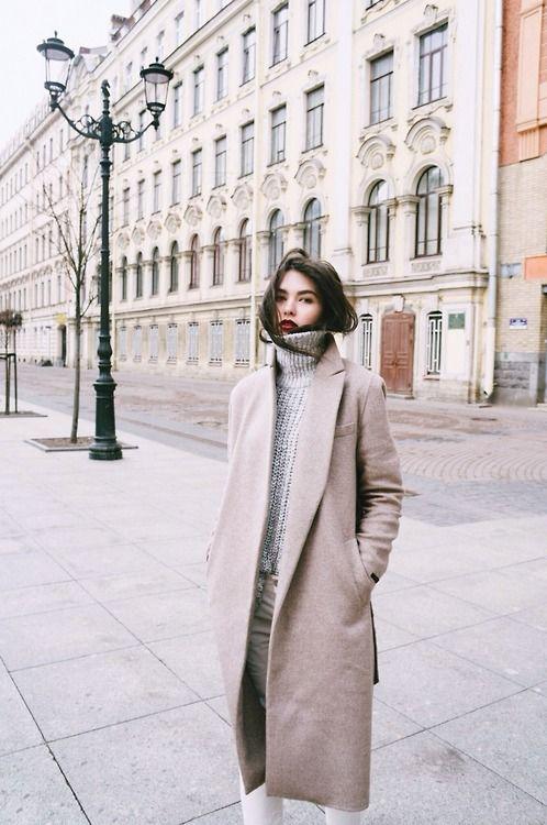 red lip, cozy turtleneck & camel coat #style #fashion