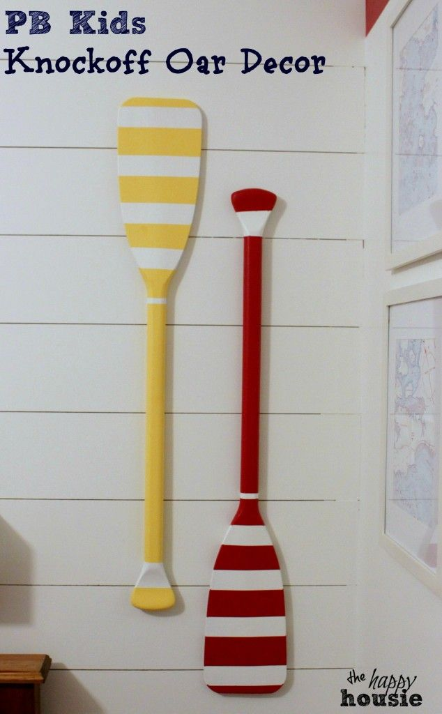 Pottery Barn Kids Knockoff Oar Decor on wall at the happy housie