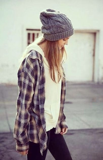 flannel, sweater, and beanie