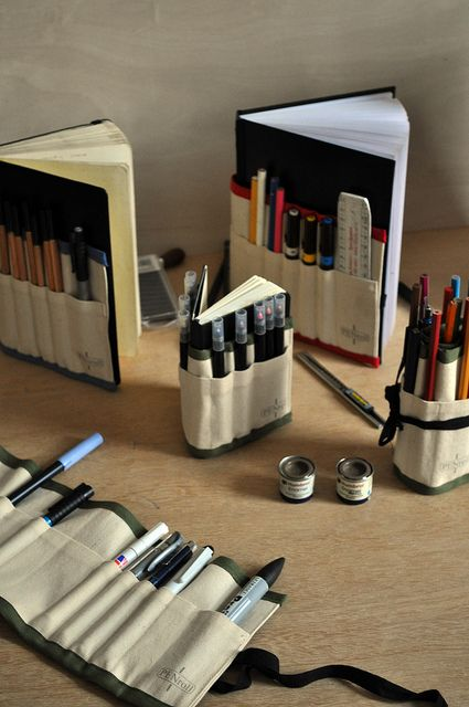 Travel Art Kits. ...maybe put a flap over the top of the pencil holder so that they won't fall out. i love this idea though!