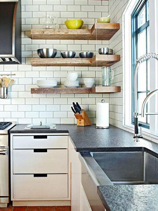 rustic floating shelves kitchen ideas pinterest on floating shelves kitchen id=92781
