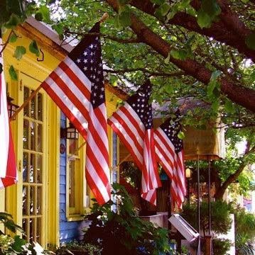 Flags on a cottage to celebrate Memorial Day
