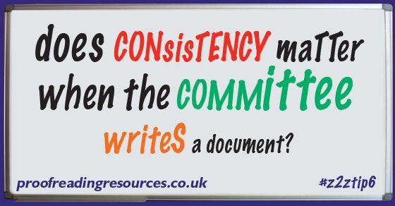 does CONsisTENCY maTTer when the COMMittee writeS a document?