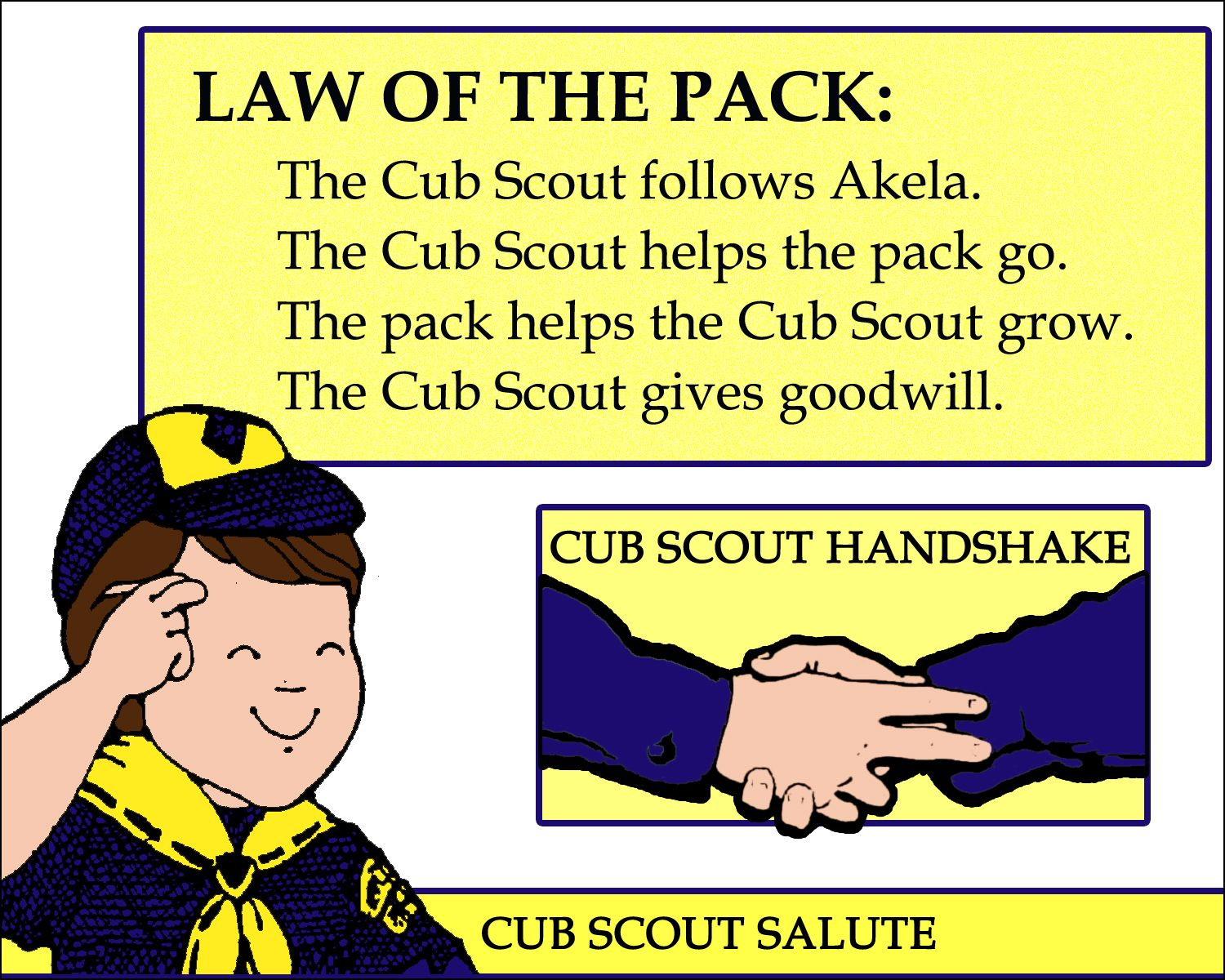 Law Of The Pack Printable With Cub Scout Handshake And