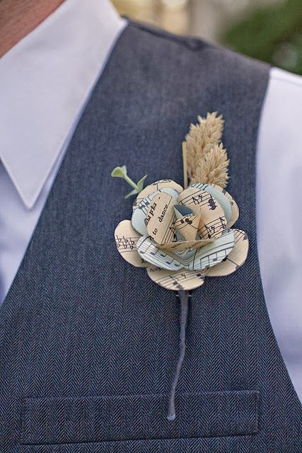 Paper Flower Boutonniere- Paper Popies and Peonies on earlyivy.wordpress.com