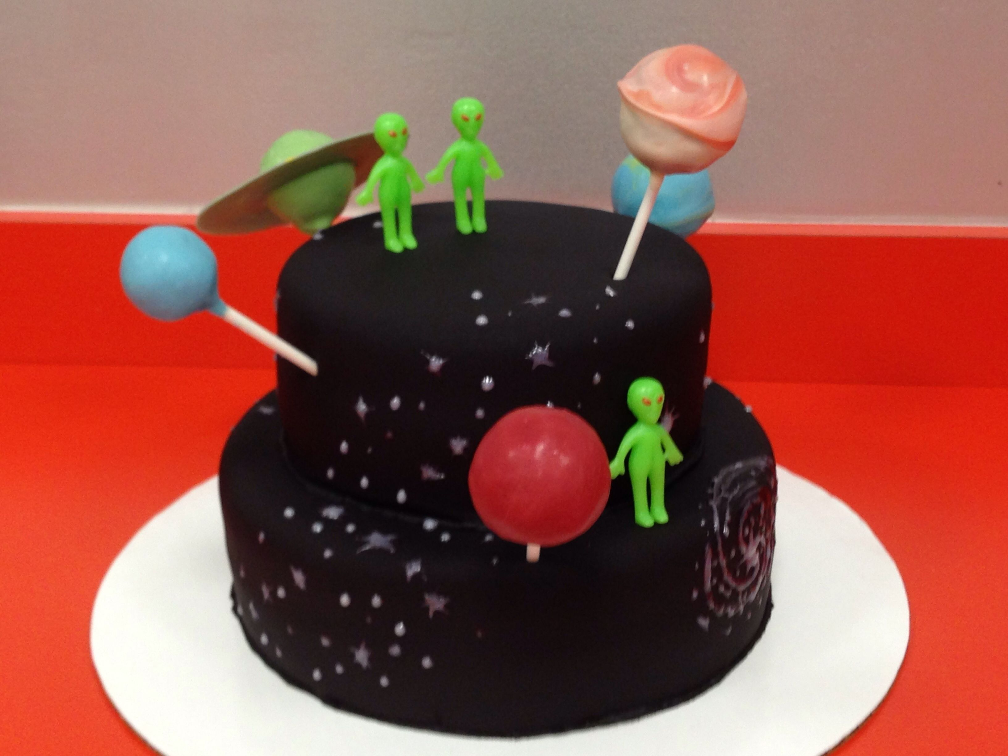 Outer Space Cake With Planet Cake Pops
