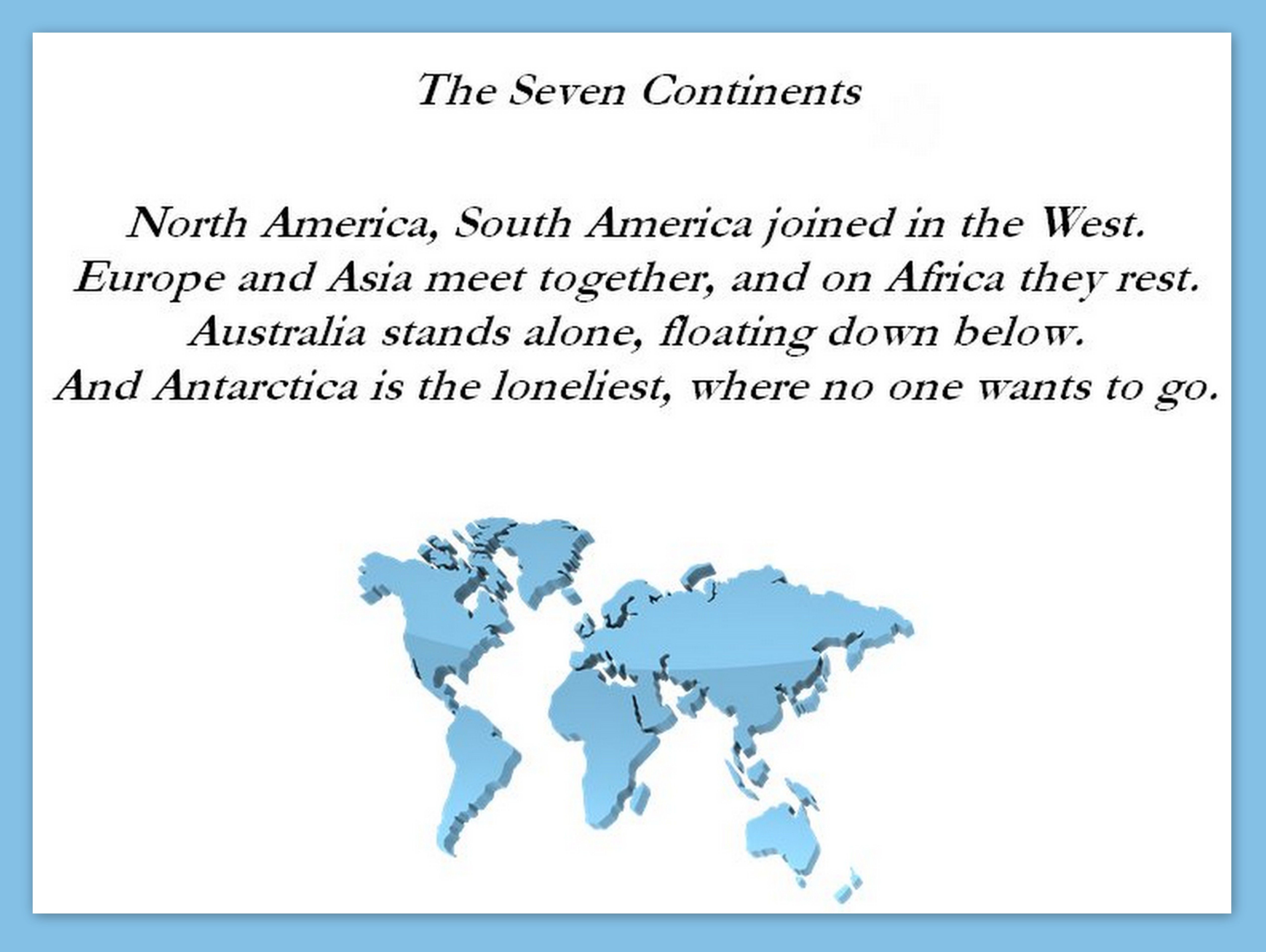 Images About Seven Continents