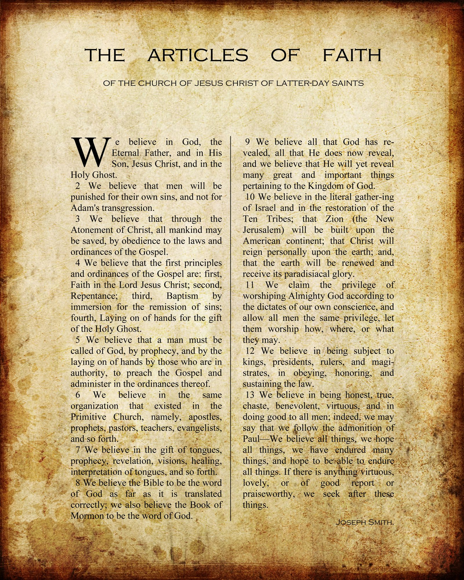 Free Printable Articles Of Faith