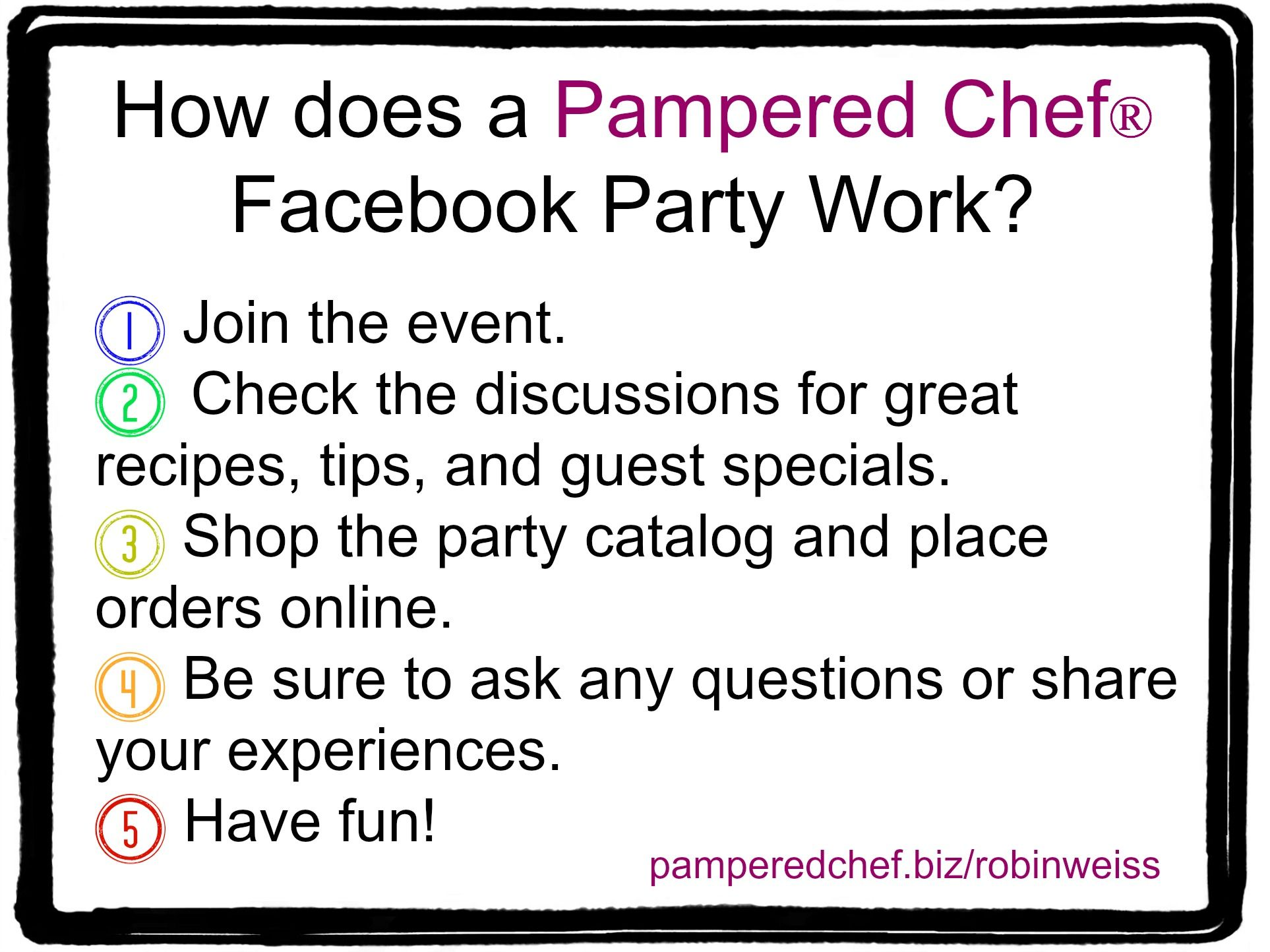Virtual Party Pampered Chef Outline