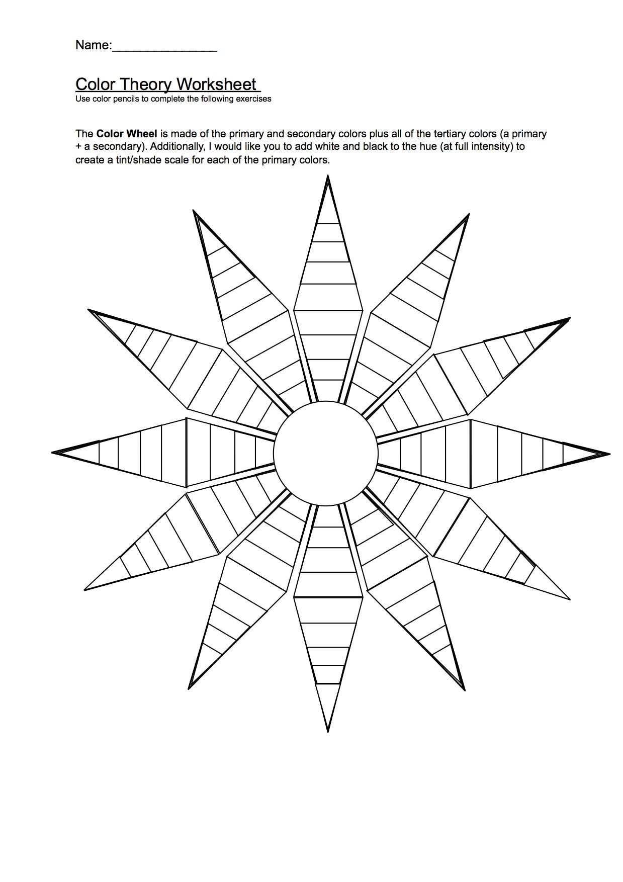 Color Wheel Worksheet Sketch Coloring Page