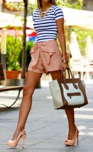 Shorts, stripes, heels, great spring outfit.