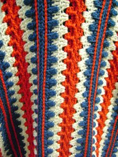 Red White and Blue Crochet Blanket - Large Crochet Afghan - Americana. $190.00, via Etsy.