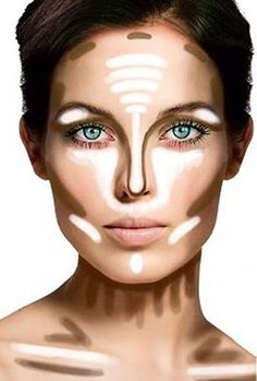 shows where to put your bronzer and highlights.