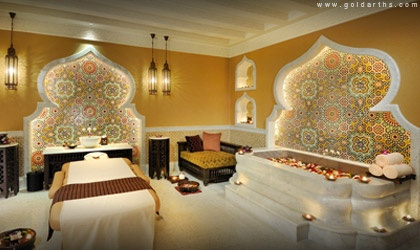 Moroccan inspired massage room complete with Jacuzzi tub.