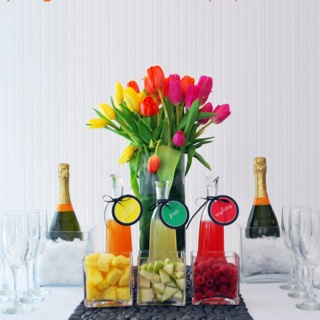 Mimosa bar. Tulips. Colorful. Perfect.