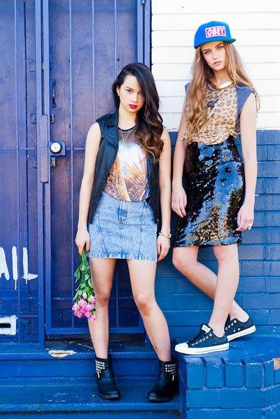 Fashion Trend - Denim, leather and slogan tees.