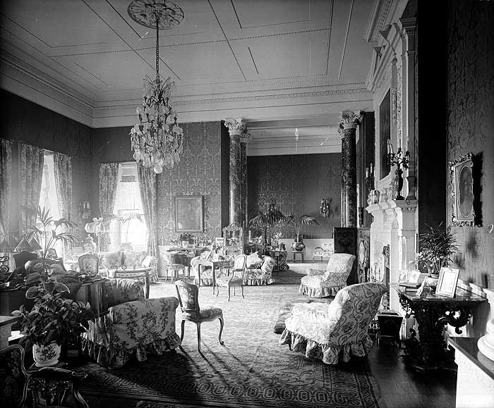 """The Drawing Room at Foots Cray Place in Bexley. It was built in circa 1756 and burnt down in 1950. The furnishings seen here are typical of the late 19th century. Bexley, London, 1900"""