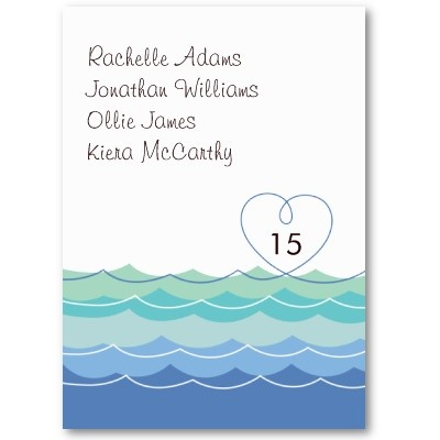 Blue Waves Loopy Heart Guest Escort / Place Card Business Card Template by fatfatin_blue_knot