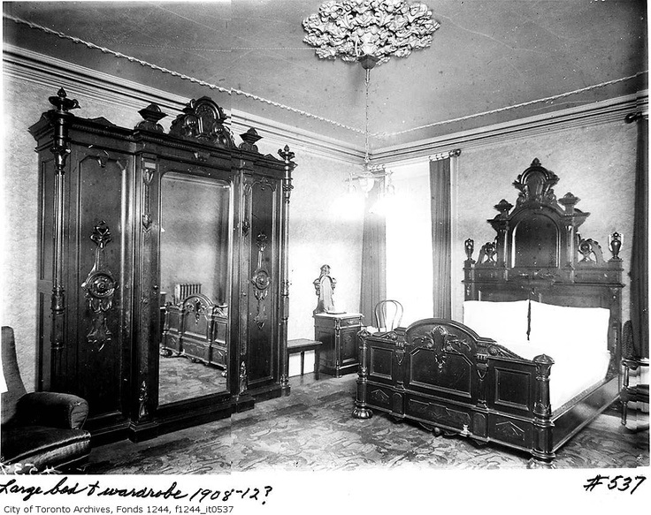 Edwardian bedroom, from the William James family fonds, Toronto Archives