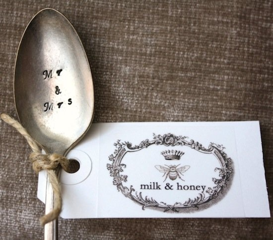 Handstamped wedding spoons