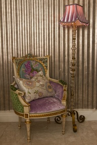 Beautiful rare French chair upholstered in Designers Guild Royal Collection fabrics; we call her The Duchess as she's rather very grand.