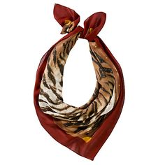 Lauren by Ralph Lauren Christina Tiger Print Square Scarf, Red Online at johnlewis.com