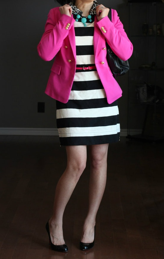 Stripes pink blazer & Black and white striped shirt with turquoise necklace